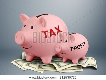 Piggy bank on dollars tax and profit creative concept