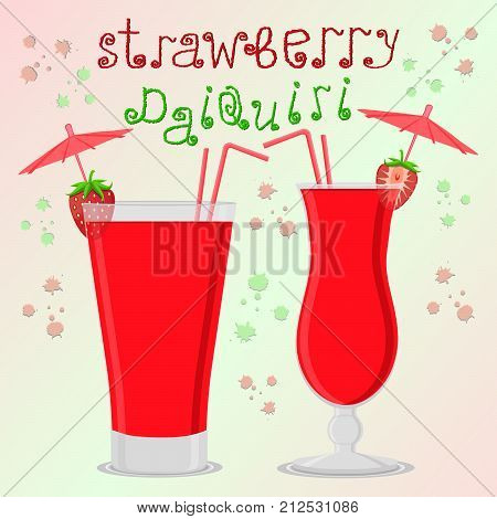Vector illustration logo for alcohol cocktails strawberry daiquiri