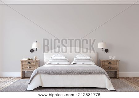 Bedroom interior in farmhouse style. 3d render.