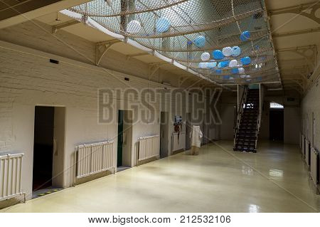 Ararat, Australia - October 22, 2017: interior of J Ward, the former asylum for the criminally insane and part of the Aradale Lunatic Asylum. J Ward closed in 1991.