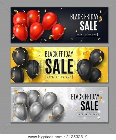 Black Friday Sale Horisontal Web Banners. Flying Shine Balloons on White Black and Red Background with Golden Confetti. Shopping Day sale offer, banner template.  Autumn Shop poster design. Vector