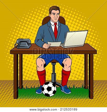 Businessman soccer football player pop art retro vector illustration. Work and rest metaphor. Comic book style imitation.