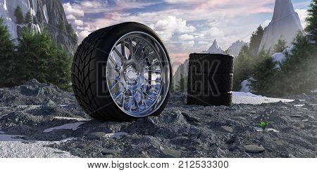 Winter tires in snowy mountains. The concept of car service and tire fitting.