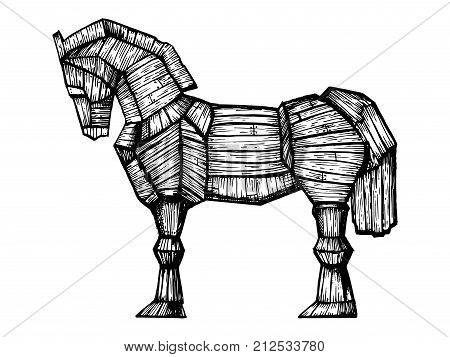 Trojan horse engraving vector illustration. Horse wooden figure. Scratch board style imitation. Hand drawn image. poster