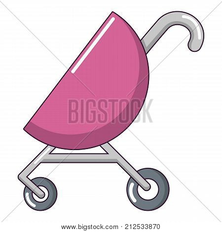 Baby carriage pink icon. Cartoon illustration of baby carriage pink vector icon for web