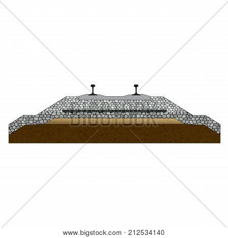 section of railroad Pavement layers Vector illustration