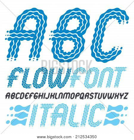 Set Of Trendy Pop Vector Capital English Alphabet Letters, Abc Isolated. Rounded Bold Italic Retro F