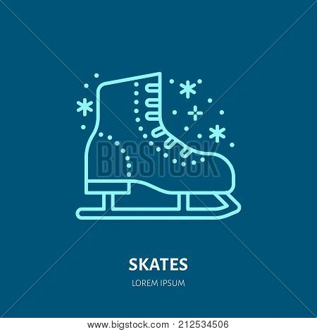 Vector thin line icon of skates. Winter recreation equipment rent logo. Outline symbol of figure skating. Cold season activities, ice rink sign. poster