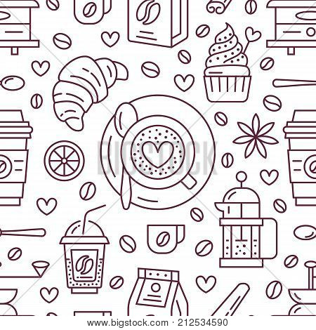 Seamless pattern of coffee, vector background. Cute beverages, hot drinks flat line icons - coffee maker machine, beans, cup, grinder. Repeated texture for cafe menu, shop wrapping paper.