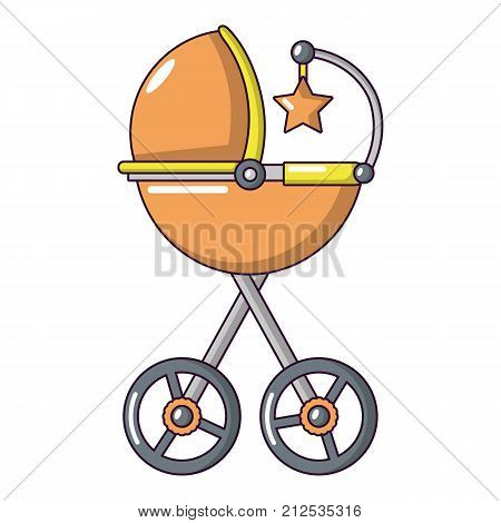 Baby carriage star icon. Cartoon illustration of baby carriage star vector icon for web