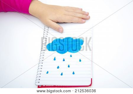 Children's Hands Hold Notebook With A Painted Sun. Isolated
