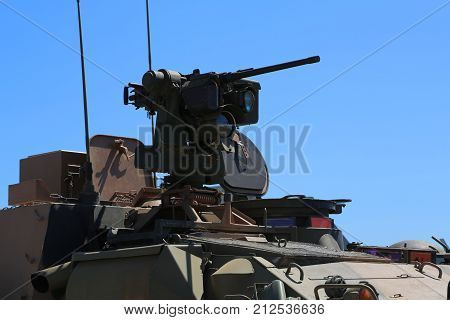 Close up of armoured vehicle gun turret