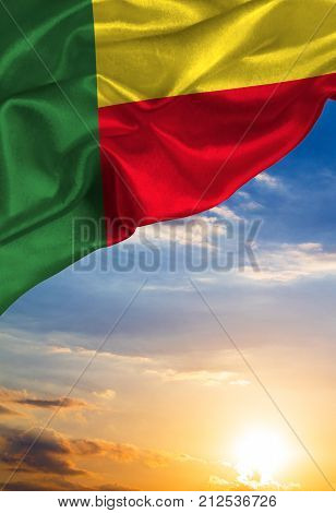 Grunge colorful flag Benin, with copyspace for your text or images.