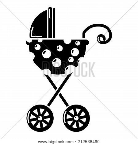 Baby carriage elegant icon. Simple illustration of baby carriage elegant vector icon for web