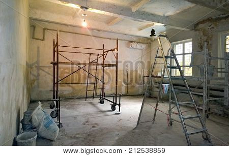 Internal premises with building fixtures in which repairs are made