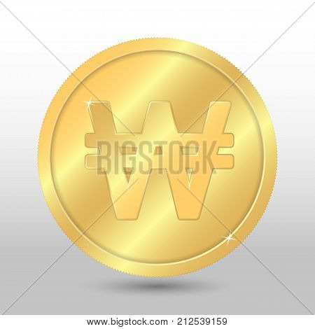 Realistic gold coin with south korean won sign. Vector coin on gray background