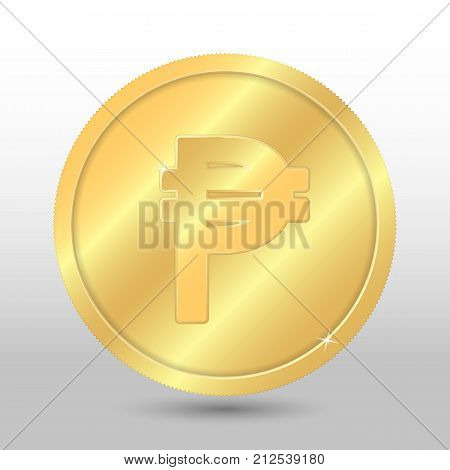 Realistic gold coin with peso sign. Vector coin on gray background