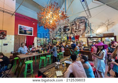 Melbourne, Australia - February 7, 2016: Lentil As Anything is a social enterprise vegetarian restaurant at Abbotsford Convent in inner city Melbourne.