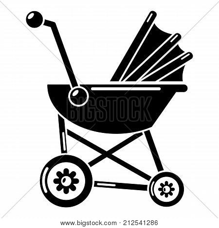 Baby carriage retro icon. Simple illustration of baby carriage retro vector icon for web