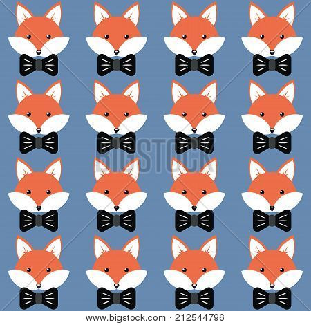 Cute cartoon foxes, Vector seamless pattern with foxes faces and bow-ties