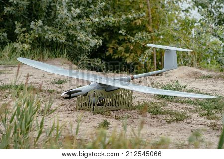 Preparing the army drones for the mission. Reconnaissance aircraft in the wild