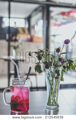 Summer strawberry fresh and cold mocktail in the cafe, Bali island.