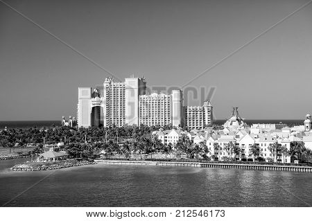 NASSAU BAHAMAS - March 9. 2016: The Atlantis Paradise Island resort located in the Bahamas . The resort cost $800 million to bring to life the myth and legend of the lost city of Atlantis.