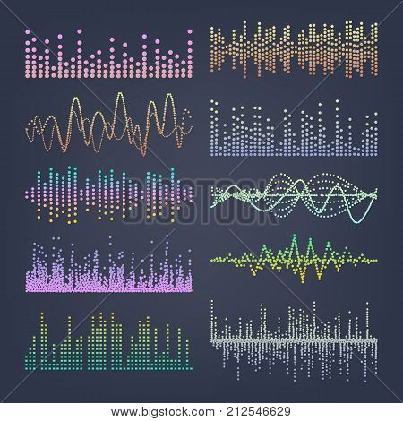 Music Sound Waves Vector. Pulse Abstract. Digital Frequency Track Equalizer Illustration