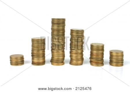 Stacked of gold coins with white background. poster