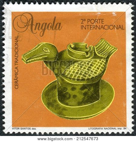 ANGOLA - CIRCA 1995: A stamp printed in Angola shows the traditional ceramics of Lovale people Bird-shaped vase circa 1995