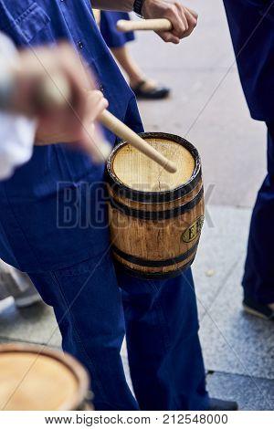Citizens Drumming In Tamborrada Of San Sebastian. Basque Country, Spain.