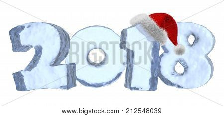 2018 Happy New Year sign text written with numbers made of clear blue ice with Santa Claus fluffy red hat new year 2018 winter icy symbol 3d illustration isolated on white