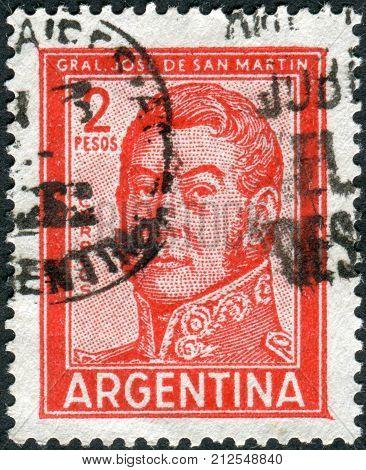 ARGENTINA - CIRCA 1961: A stamp printed in the Argentina shows a national hero Jose de San Martin circa 1961