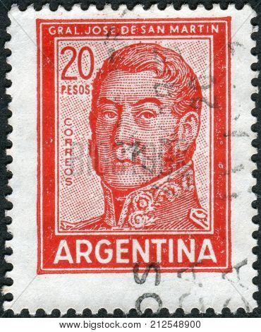 ARGENTINA - CIRCA 1967: A stamp printed in the Argentina shows a national hero Jose de San Martin circa 1967