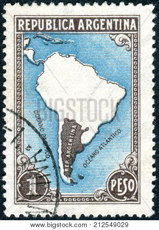 ARGENTINA - CIRCA 1937: A stamp printed in the Argentina depicts Map of South America (without borders) circa 1937