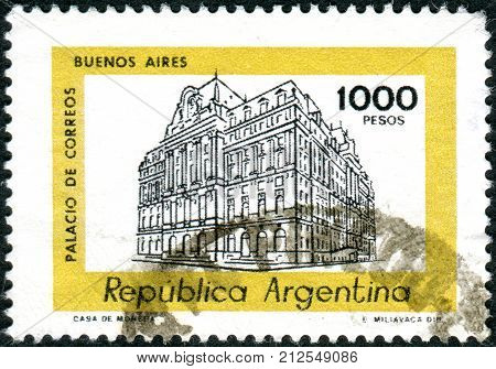ARGENTINA - CIRCA 1980: Postage stamp printed in Argentina show the Central Post Office in Buenos Aires circa 1980