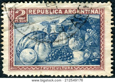 ARGENTINA - CIRCA 1936: Postage stamp printed in Argentina, show Fruits, circa 1936