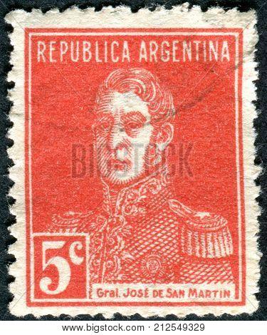 ARGENTINA - CIRCA 1933: A stamp printed in the Argentina shows a national hero Jose de San Martin circa 1933