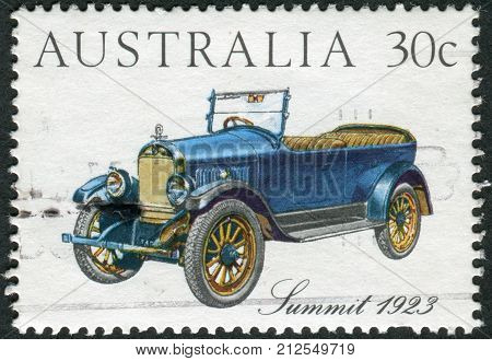 Australia - Circa 1984: Postage Stamp Printed In Australia, Shows Australian-made Vintage Cars: Summ
