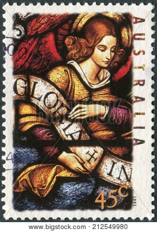 Australia - Circa 1995: Postage Stamp Printed In Australia, Christmas Issue, Shows Stained Glass Win