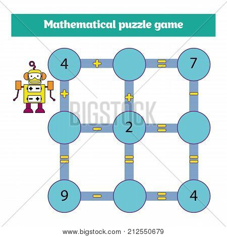 Mathematical Puzzle Game. Learning Mathematics, Tasks For Addition For Preschool Children. Worksheet