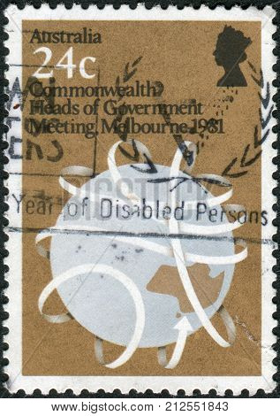 Australia - Circa 1981: Postage Stamp Printed In Australia, Dedicated To Commonwealth Heads Of Gover