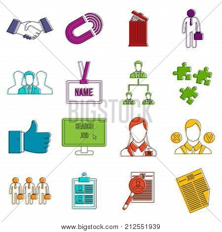 Human resource management icons set. Doodle illustration of vector icons isolated on white background for any web design