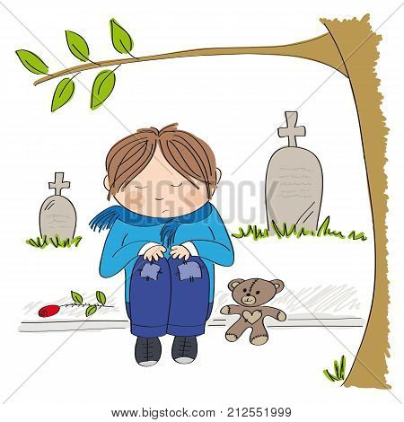 Sad and alone little boy sitting on the pavement in front of the graveyard crying and remembering someone he has lost - original hand drawn illustration
