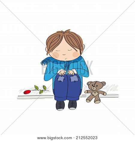 Sad and alone little boy sitting on the pavement crying and remembering someone he has lost - original hand drawn illustration