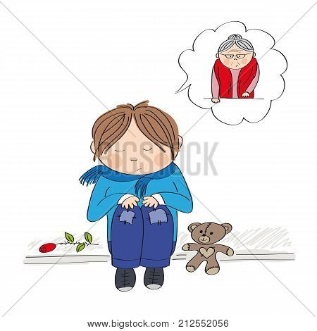 Sad and alone little boy sitting on the pavement crying and remembering his granny he has lost - original hand drawn illustration