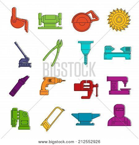 Metal working icons set. Doodle illustration of vector icons isolated on white background for any web design