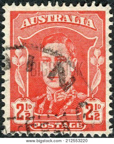 Australia - Circa 1942: Postage Stamp Printed In Australia Shows King George Vi, Circa 1942