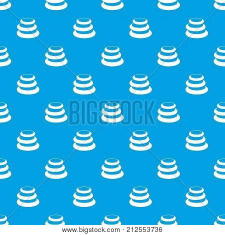 Stack of basalt balancing stones pattern repeat seamless in blue color for any design. Vector geometric illustration
