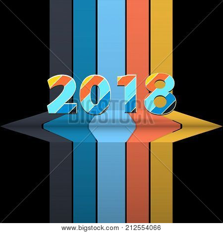 3D Illustration of Twenty Eighteenth 2018 New Years in Striped Numbers Over Black Background with Stripes and Shelf